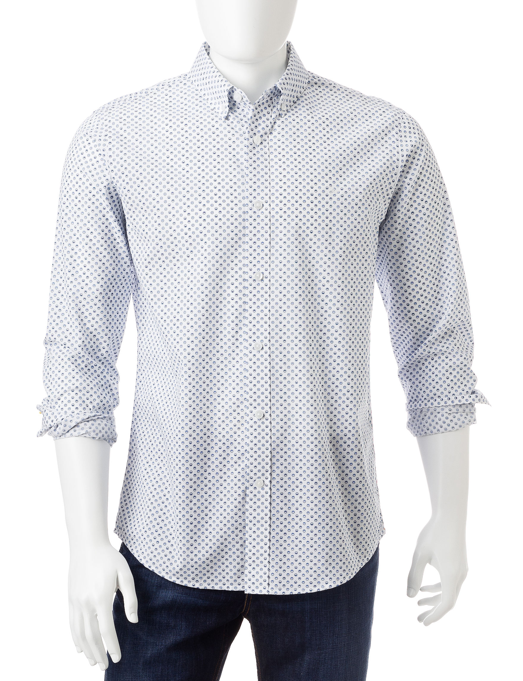 Dockers Paper White Casual Button Down Shirts