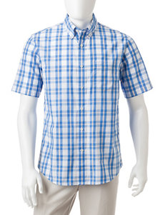 Dockers Ceramic Blue Casual Button Down Shirts