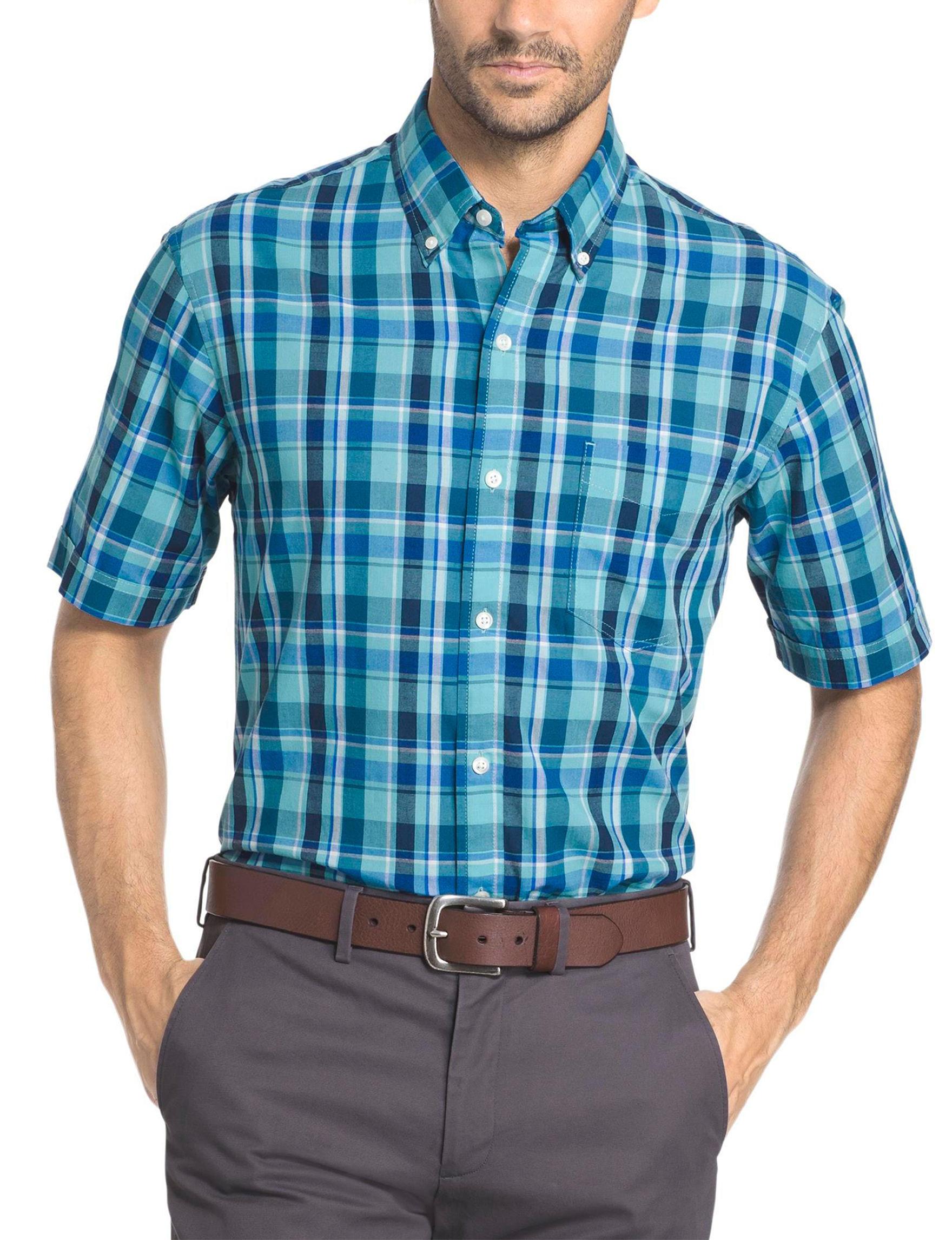 Arrow Aqua Casual Button Down Shirts