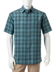 Haggar Turquoise Casual Button Down Shirts
