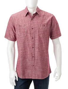 Weatherproof Biking Red Casual Button Down Shirts