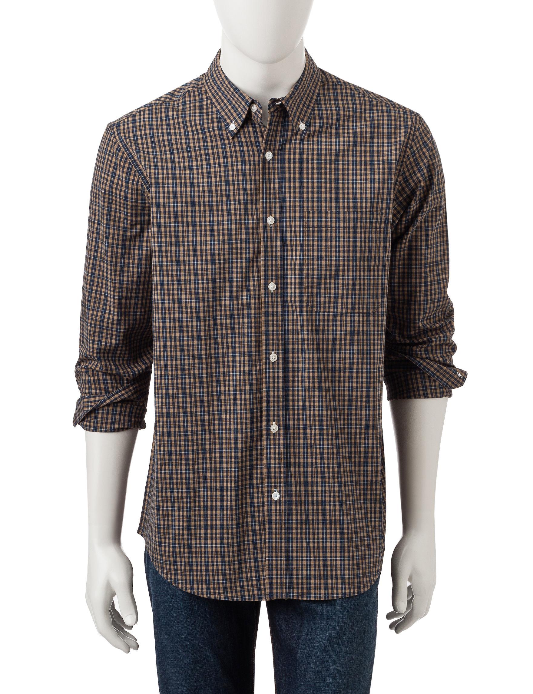 Sun River Khaki Casual Button Down Shirts