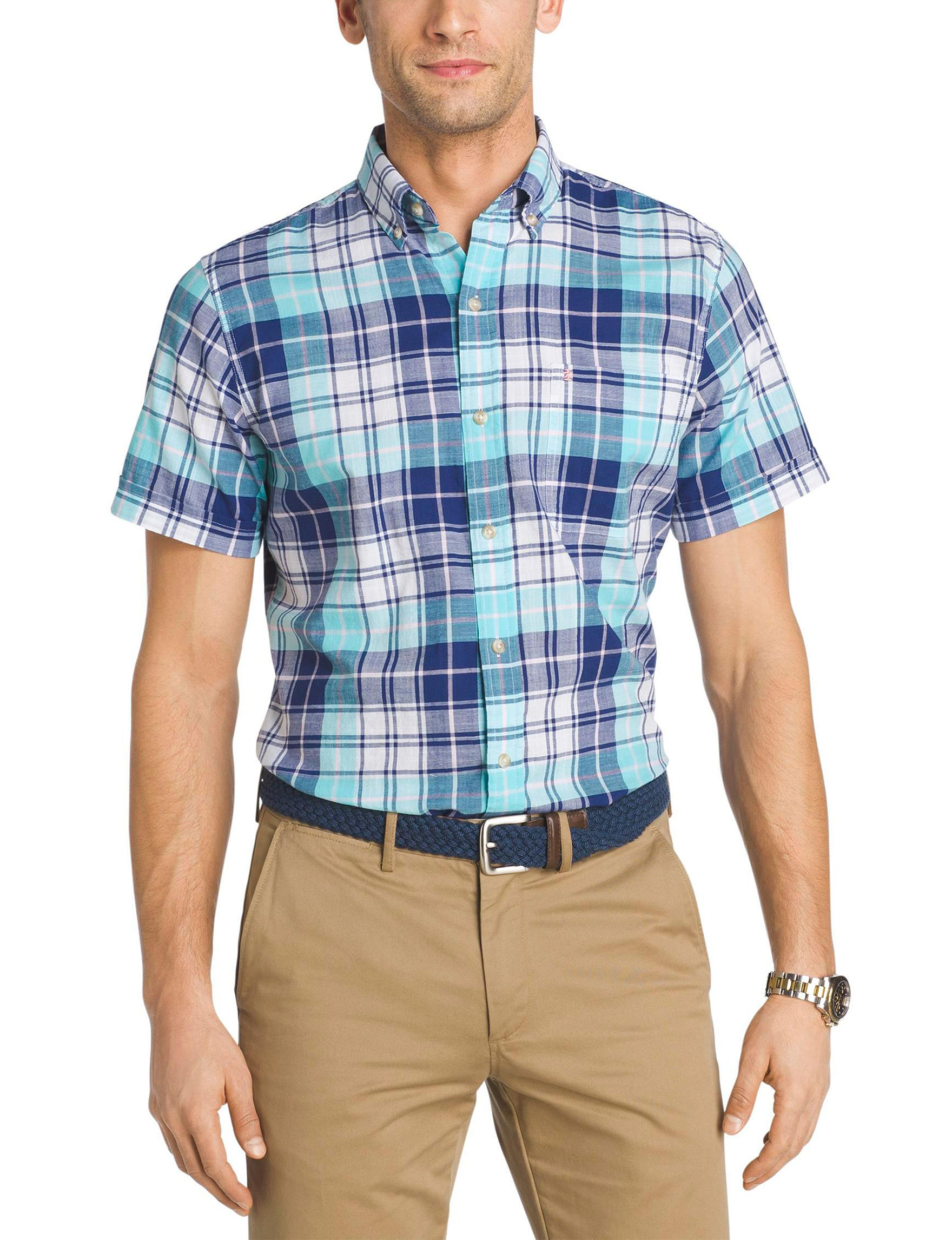 Izod Blue Radiance Casual Button Down Shirts