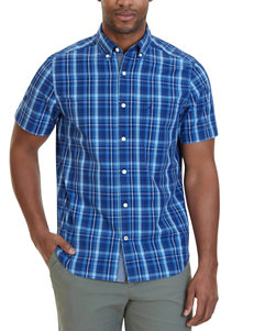 Nautica Dark Blue Casual Button Down Shirts