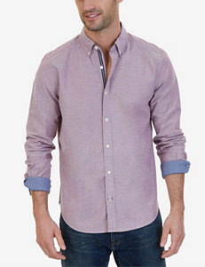 Nautica Burgundy Casual Button Down Shirts