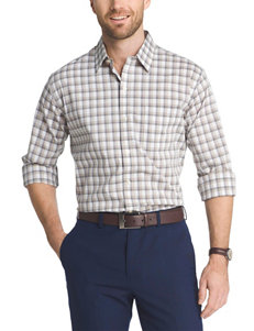 Van Heusen Beige Casual Button Down Shirts