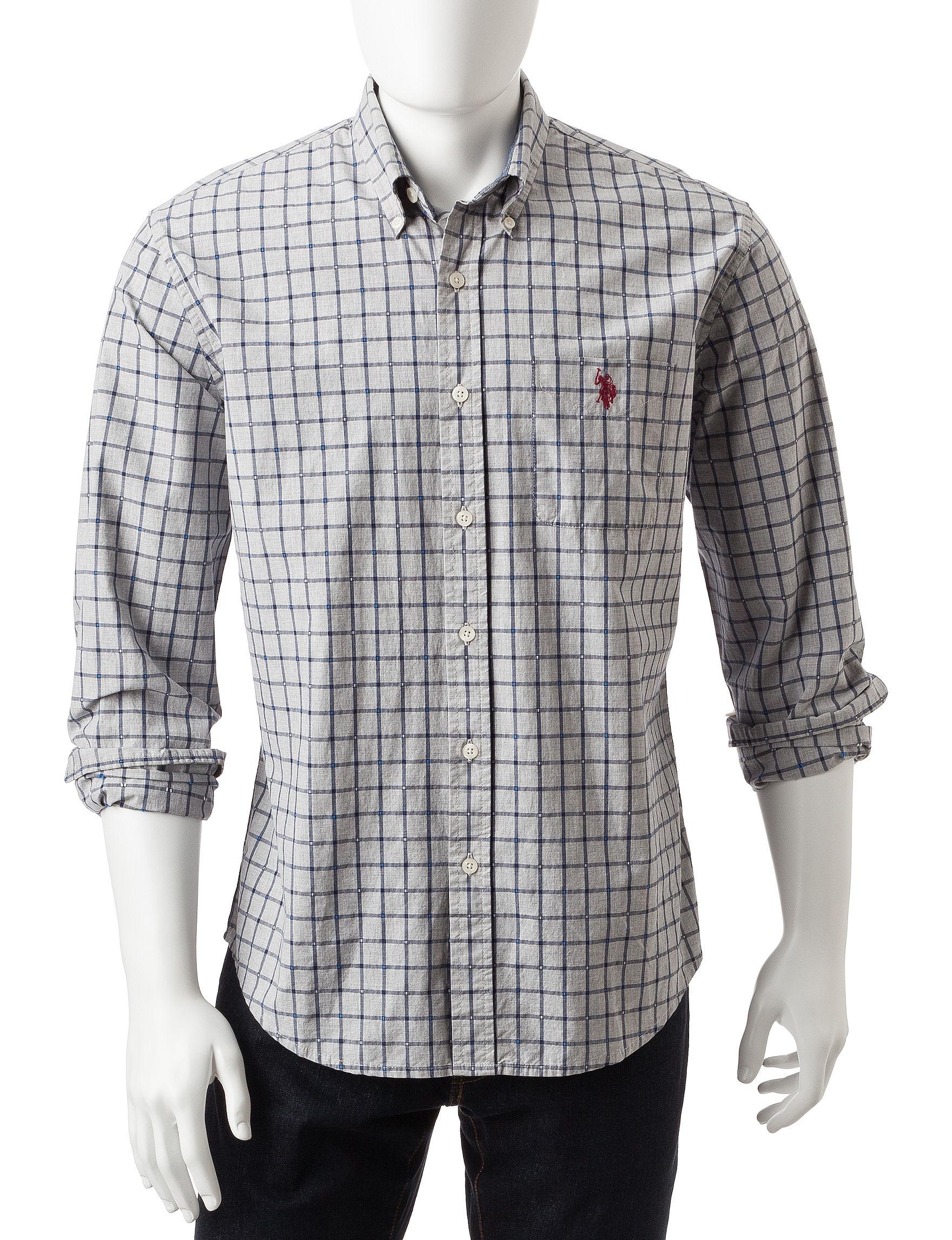 U.S. Polo Assn. Grey Casual Button Down Shirts Classic