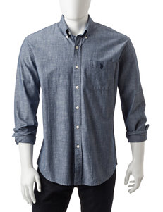 U.S. Polo Assn. Blue Casual Button Down Shirts Classic