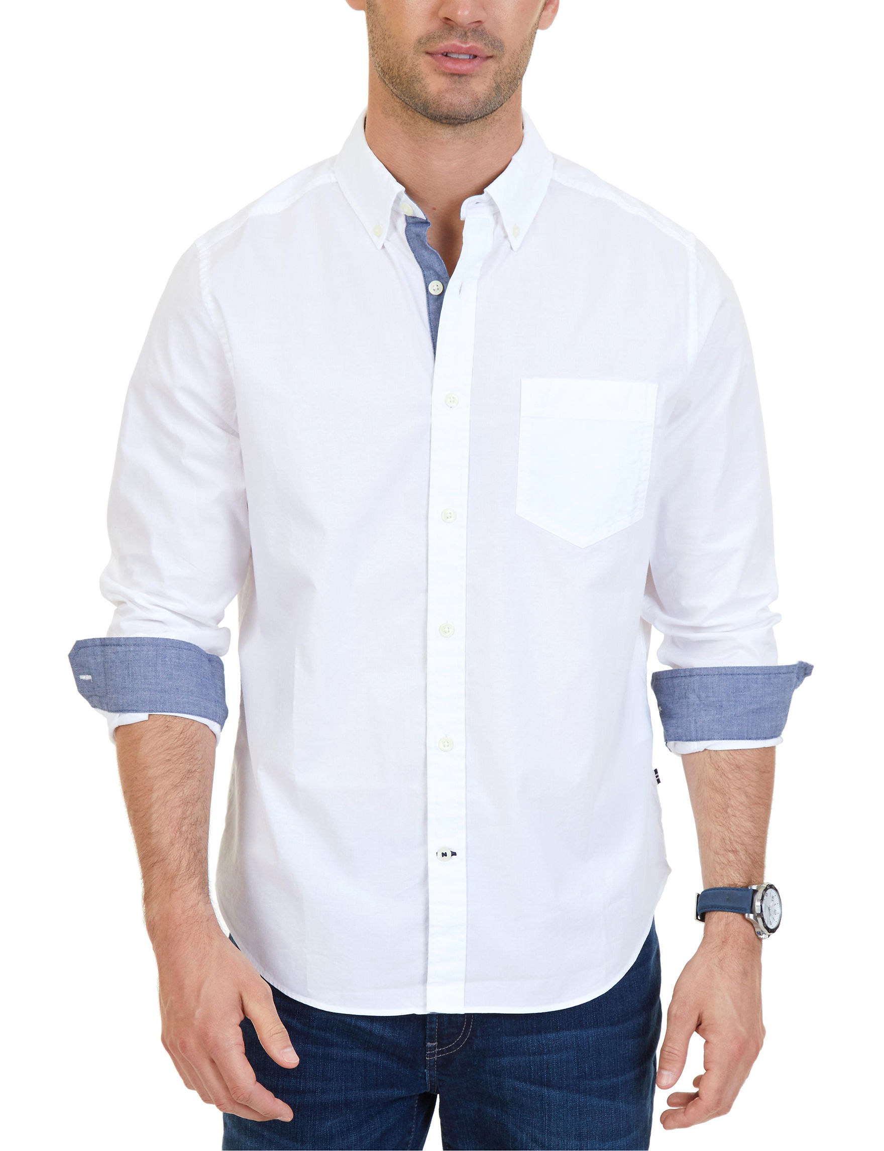 Nautica White Casual Button Down Shirts Classic