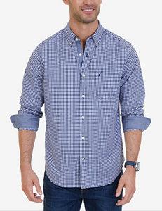 Nautica Navy Casual Button Down Shirts Classic