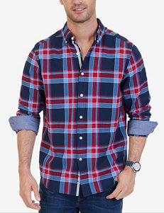 Nautica Navy / Red Casual Button Down Shirts Classic