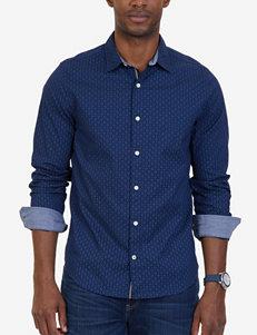 Nautica Blue Casual Button Down Shirts Classic