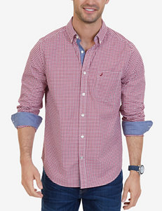Nautica Red Casual Button Down Shirts Classic