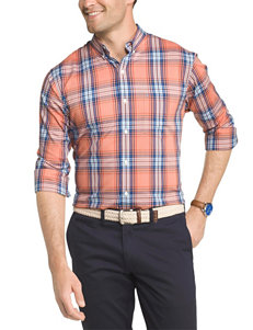 Izod Orange Casual Button Down Shirts