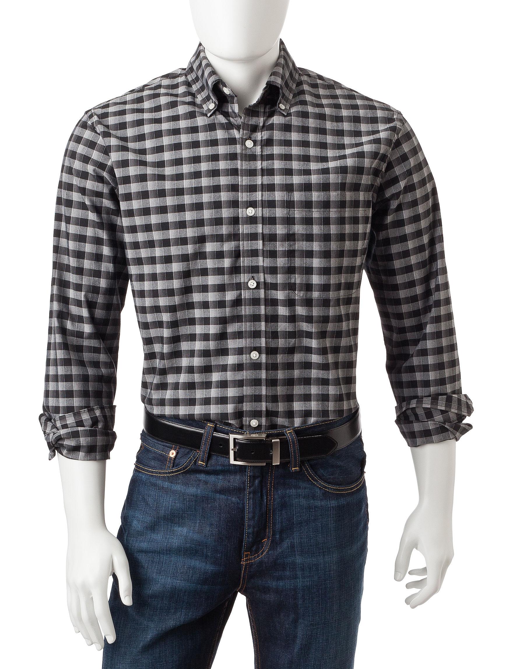 Sun River Black Casual Button Down Shirts
