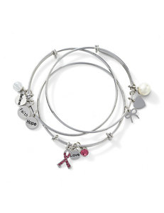3-pc. Breast Cancer Adjustable Charm Bracelet Set