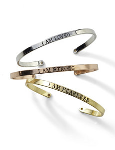 3-pc. Loved Strong Fearless Cuff Bracelet Set