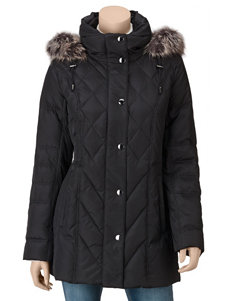 London Fog Black Quilted Hooded Jacket – Misses