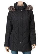 London Fog Black Quilted Hooded Jacket – Misses
