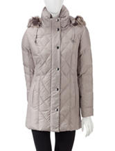 London Fog Grey Quilted Down Hooded Puffer Coat