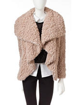Coffee Shop Beige Wubby Open Front Coat