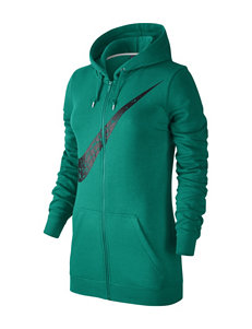 Nike Green Club Fleece Swoosh Zip Hoodie
