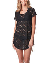 Wearabout Black Chevron Knit Shirred Cover Up