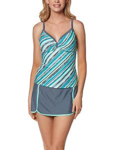 Free Country Cabana Striped Tankini Swim Top