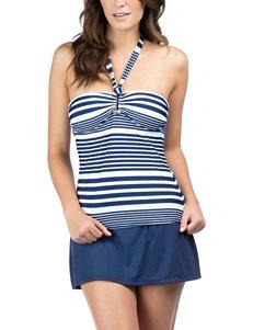 Chaps Multi Striped Bandeaukini Swim Top