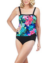 Maxine of Hollywood Tropic Floral Bandeau One Piece Swimsuit