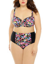 Costa Del Sol Plus-size Ditsy Floral Midkini Swim Top