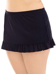 Costa Del Sol Plus-size Solid Color Black Skirtini Swim Bottoms