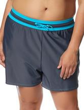 Free Country Plus-size Blue & Grey Drawstring Swim Shorts
