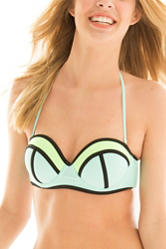 In Mocean Color Block Push-Up Bikini Swim Top