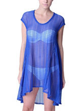 Jordan Taylor Solid Color Royal Blue Trapeze Swim Cover Up
