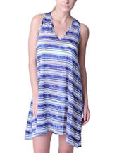 Jordan Taylor Blue & White Striped Print Swim Cover Up