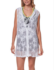 Portocruz Solid Color White Hooded Palm Tree Swim Cover Up