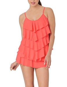 Cole of California Coral Ruffle Tiered Tankini Swim Top