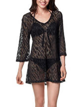 Portocruz Solid Color Black Burnout Swim Cover Up