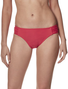 Christina Red Side Shirred Hipster Swim Bottoms