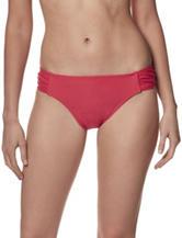 Christina Red Side Shirred Hipster Swim Bottoms