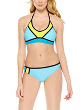 Hot Water Color Block Halterkini Swim Top