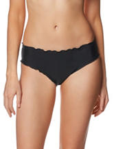 Beach Stop Black Ruffle Trim Hipster Swim Bottoms