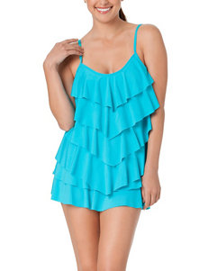 In Mocean Turquoise Tiered Ruffle Tankini Swim Top