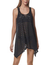 Portocruz Black Popcorn Striped Swim Cover Up