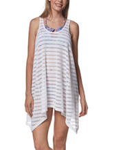 Portocruz White Popcorn Striped Swim Cover Up