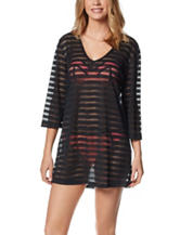 Portocruz Black Burnout Striped Swim Cover Up