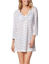 Portocruz White Burnout Striped Swim Cover Up