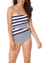 In Mocean One Piece Striped Bandeaukini Swimsuit
