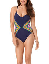 In Mocean Diamonds Color Block One Piece Swimsuit